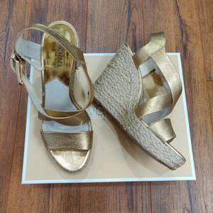 Gold espadrille wedge sandal